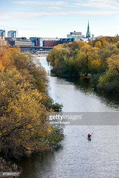 High angle view of person kayaking, Karlbergskanalen, Stockholm, Sweden