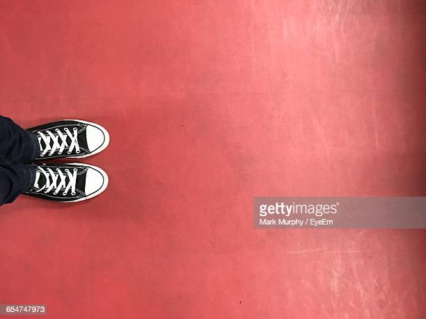 high angle view of person wearing shoe standing on red floor - parte inferior imagens e fotografias de stock