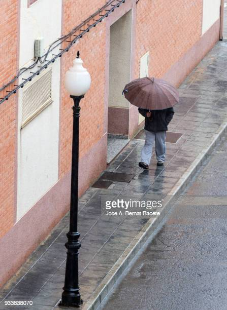 High angle view of person with umbrella walking in rain on street.