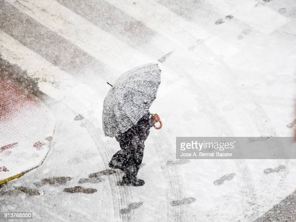 high angle view of person with umbrella walking in snow on street  with red umbrella in snowstorm. valencia, spain - blizzard stock pictures, royalty-free photos & images