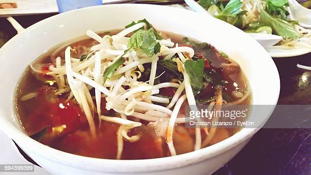 High Angle View Of Pho Soup Served In Bowl