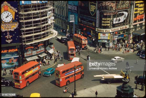 High Angle View of Piccadilly Circus and Street Scene London England UK 1960