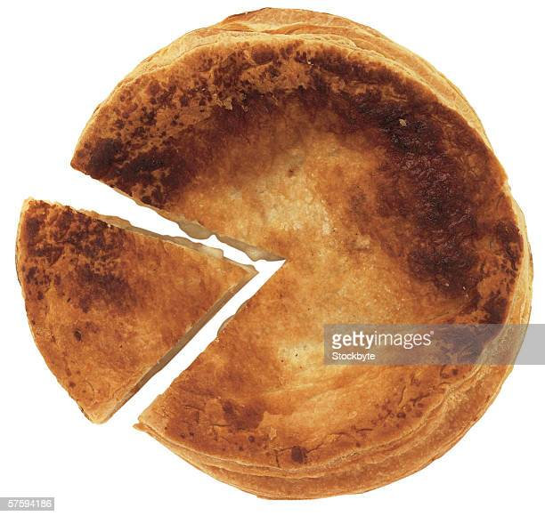 high angle view of pie with wedge cut out