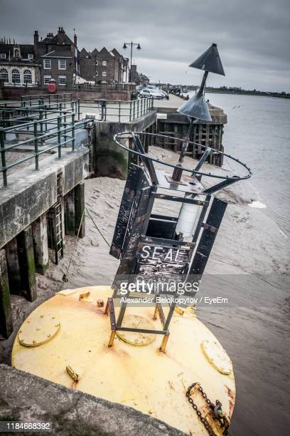high angle view of pier by sea against sky - king's lynn stock pictures, royalty-free photos & images