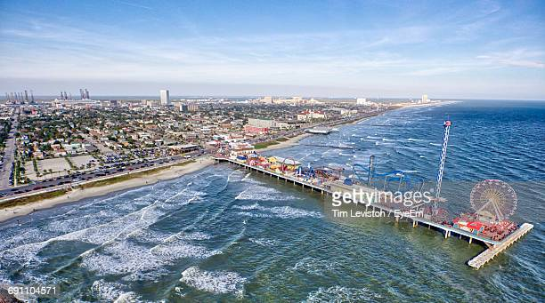 high angle view of pier on sea - galveston stock pictures, royalty-free photos & images