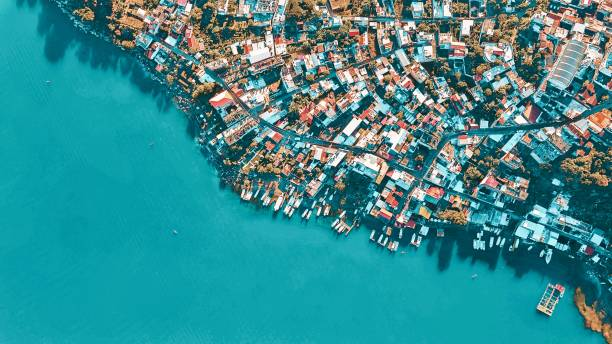 High Angle View Of Pier Over Sea In Guatemala
