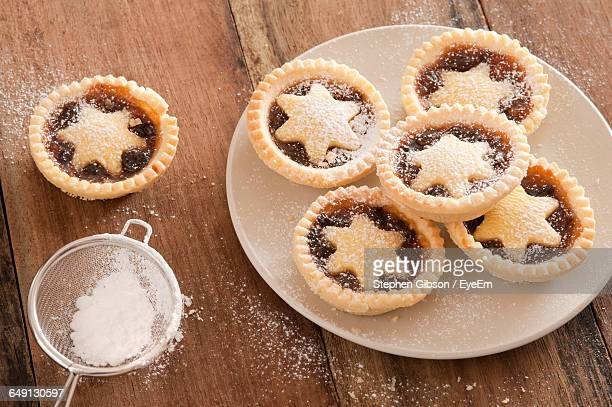 High Angle View Of Pies In Plate During Christmas On Table