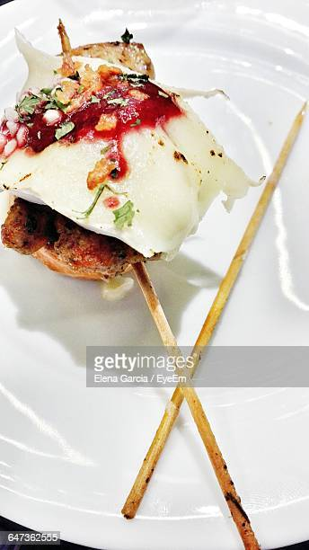 High Angle View Of Pincho Served On Plate