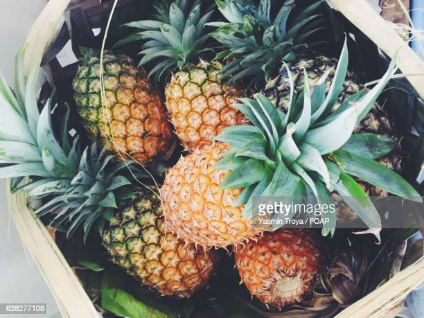 High angle view of pineapples in basket