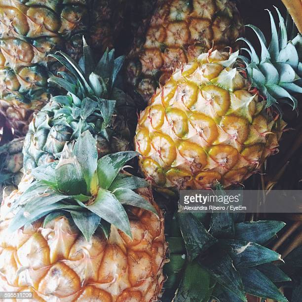 High Angle View Of Pineapples In Market