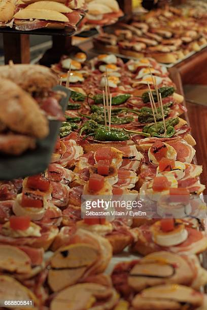 High Angle View Of Pintxos Served On Table At Restaurant