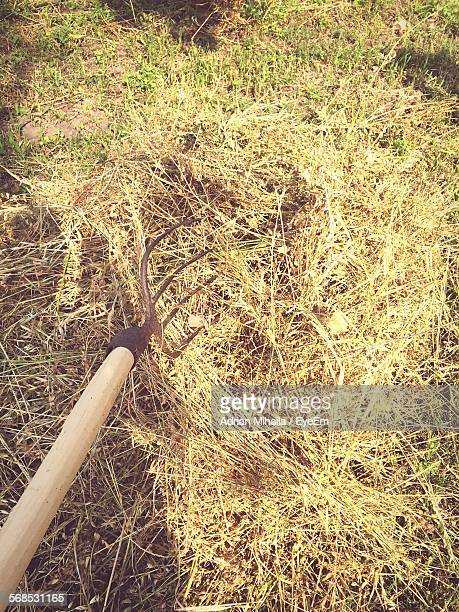 High Angle View Of Pitchfork On Hay At Field
