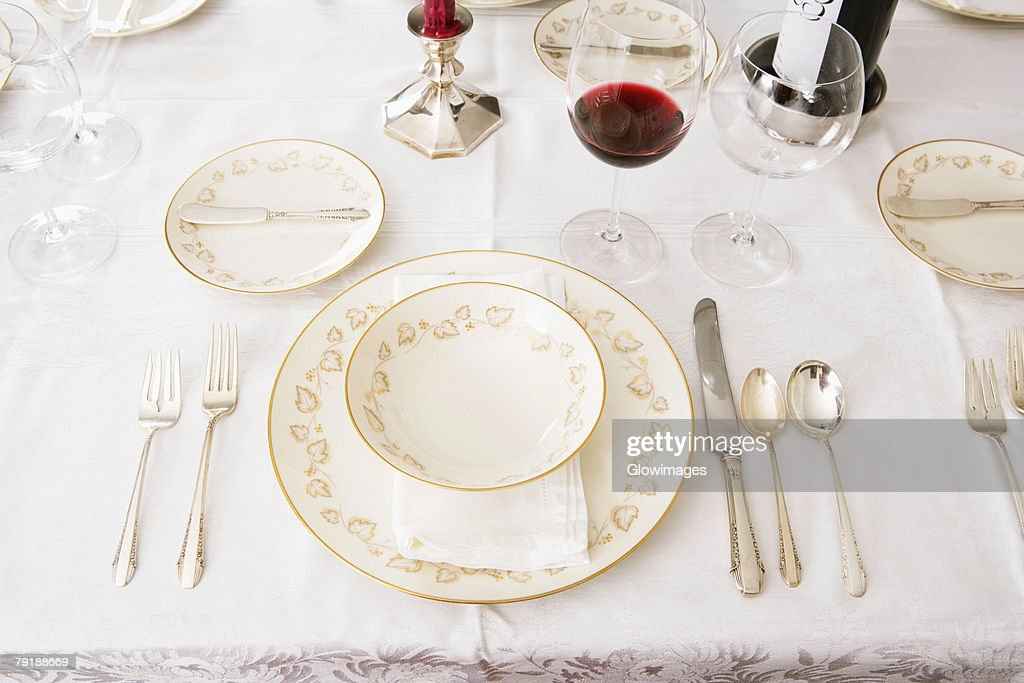 High angle view of place setting for a dinner party : Stock Photo