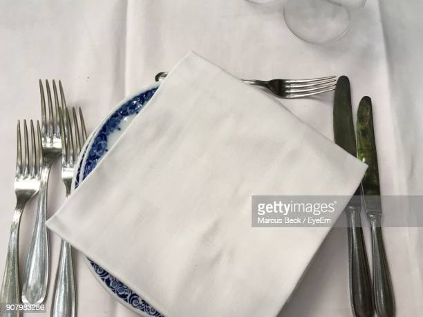 High Angle View Of Place Setting