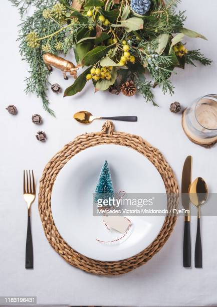high angle view of place setting with christmas decorations on table - plato vajilla fotografías e imágenes de stock
