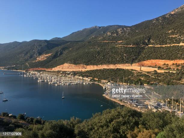 high angle view of plants and mountains against sky - deniz hasar stock pictures, royalty-free photos & images