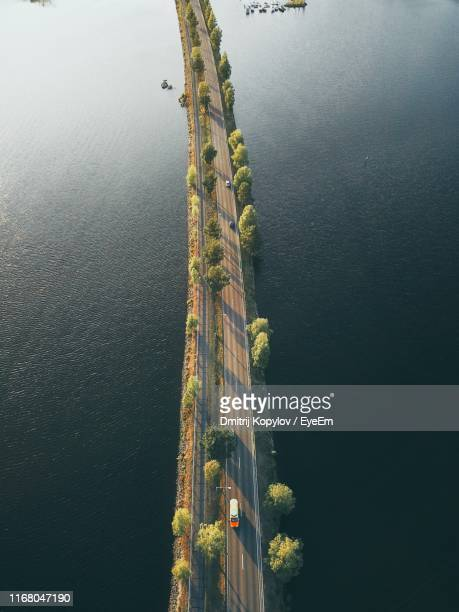 high angle view of plants by lake against sky - ラッペーンランタ ストックフォトと画像