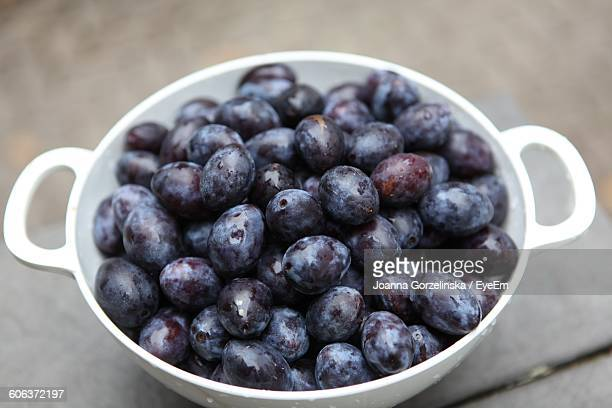 High Angle View Of Plums In Bowl