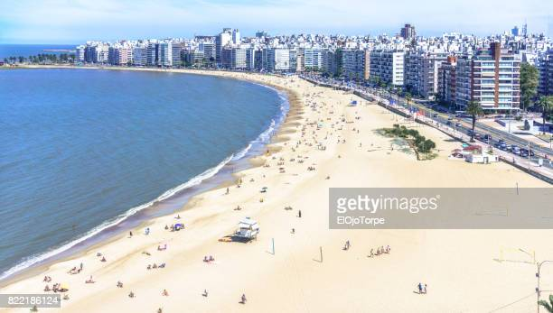 High angle view of Pocitos beach, Montevideo, Uruguay