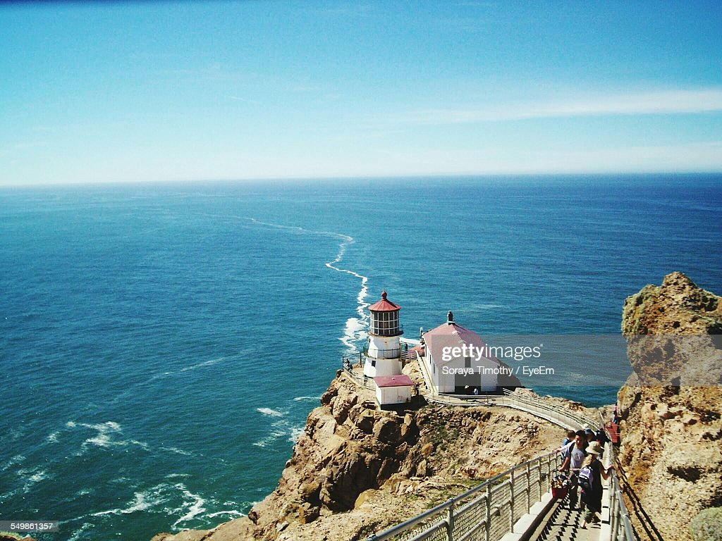 High Angle View Of Point Reyes National Seashore Against Blue Sky : Stock Photo