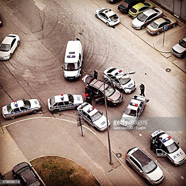 High Angle View Of Police Cars On Street