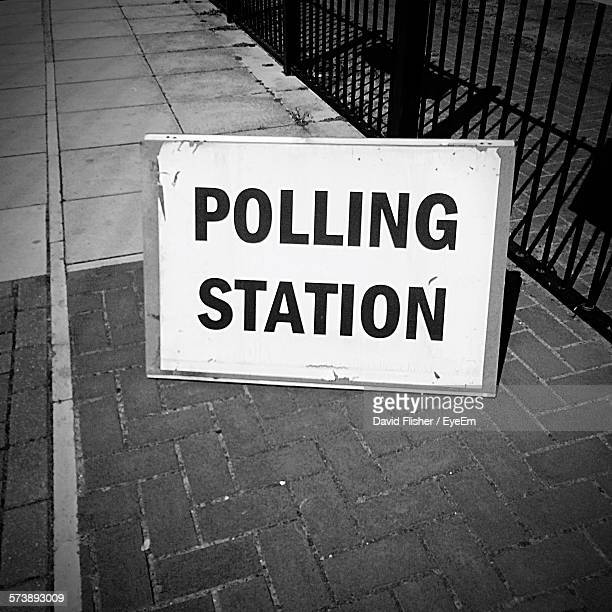 High Angle View Of Polling Station Sign On Street