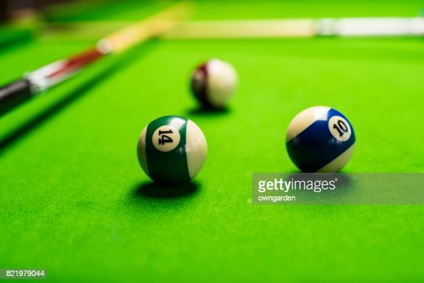 High Angle View Of Pool Balls Arranged On Table