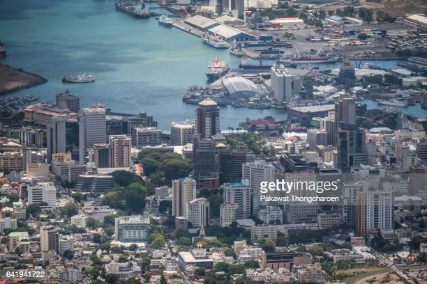 high angle view of port louis, mauritius - port louis stock photos and pictures