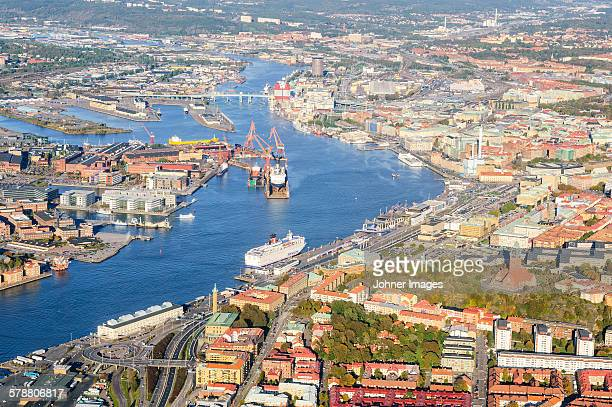 High angle view of port