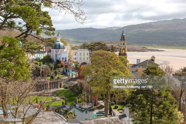High angle view of Portmeirion, Gwynedd, Wales, Wales, United Kingdom