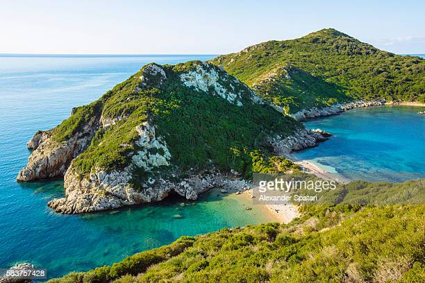 High angle view of Porto Timoni beach, Corfu, Ionian Islands, Greece