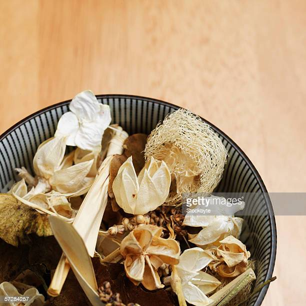 High angle view of potpourri in a bowl on the floor