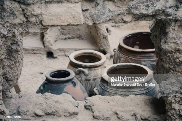 high angle view of pots at old ruin - ancient civilisation stock pictures, royalty-free photos & images