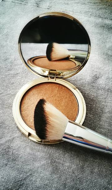High Angle View Of Powder Compact With Make-Up Brush Wall Art