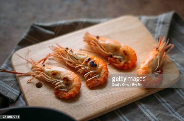 High Angle View Of Prawns