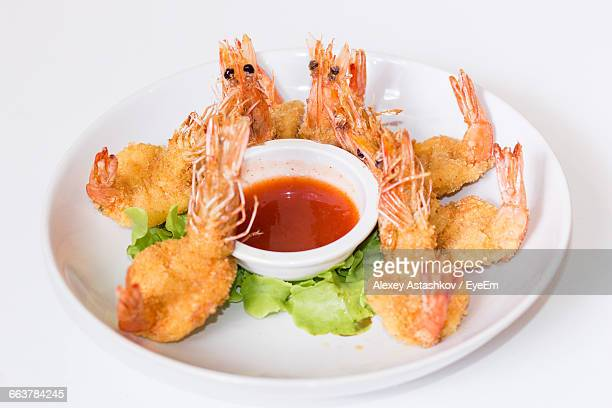 High Angle View Of Prawns Served In Plate