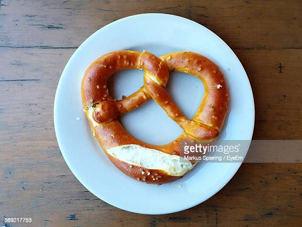 High Angle View Of Pretzel In Plate On Table