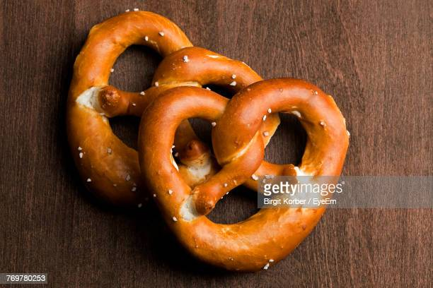 High Angle View Of Pretzel On Table