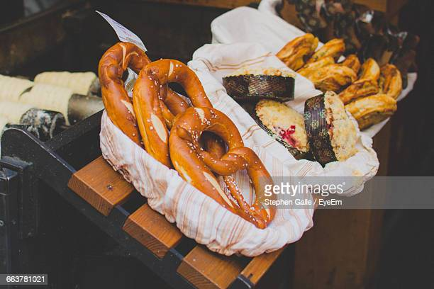 High Angle View Of Pretzels In Container On Table