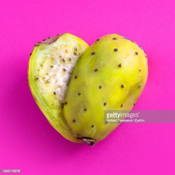 high angle view of prickly pear against pink background - prickly pear cactus stock photos and pictures