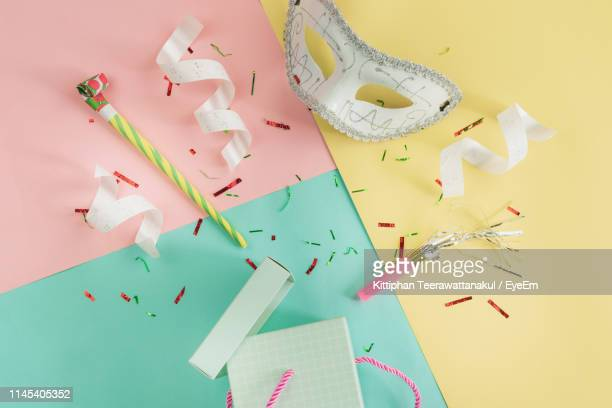 high angle view of props on table - prop stock pictures, royalty-free photos & images