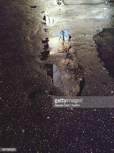 High Angle View Of Puddle On Street
