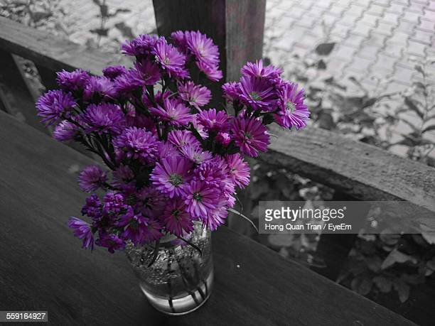 high angle view of purple flower vase on table - hong quan stock pictures, royalty-free photos & images