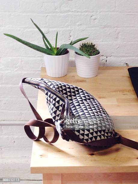High Angle View Of Purse And Potted Plants On Wooden Table By Wall