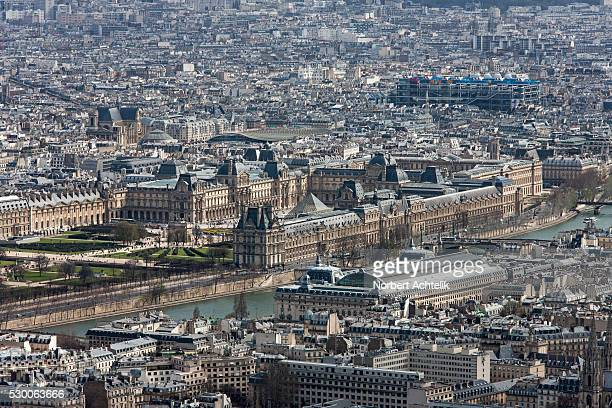 high angle view of pyramide du louvre, paris, france - louvre pyramid stock pictures, royalty-free photos & images