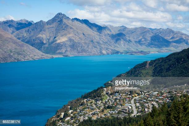 High Angle view of Queenstown in the Remarkable Mountains of New Zealand