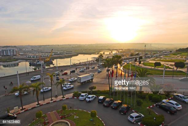 high angle view of rabat early morning traffic. - rabat morocco stock pictures, royalty-free photos & images