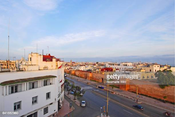 High angle view of Rabat medina behind red wall