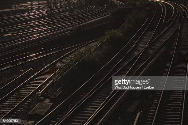 High Angle View Of Railroad Junction