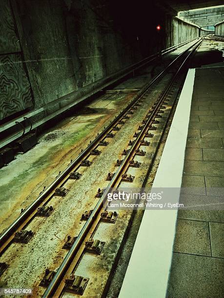 high angle view of railroad track at new lynn train station - mcconnell stock pictures, royalty-free photos & images